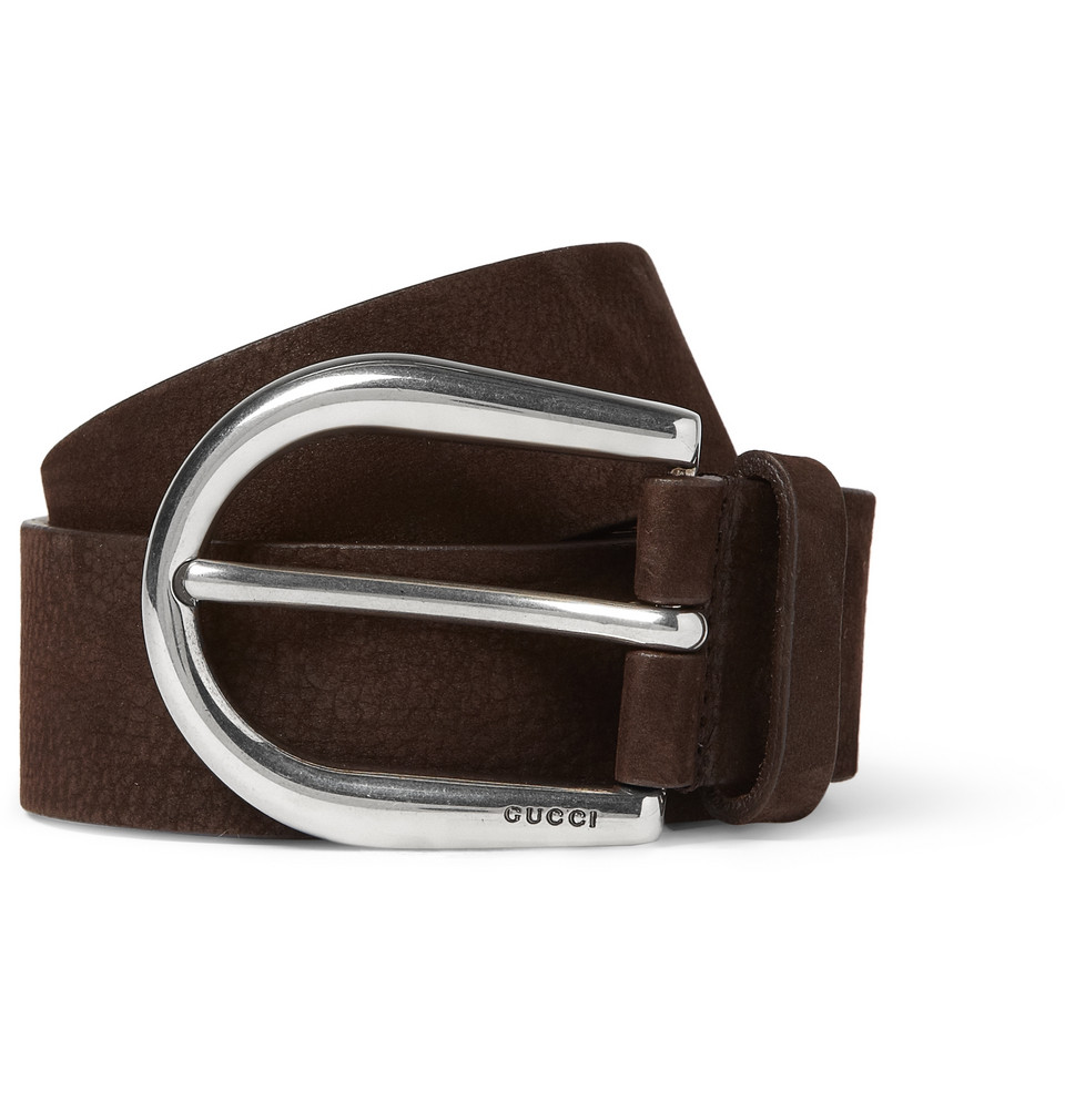 gucci nubuck leather belt in brown for lyst