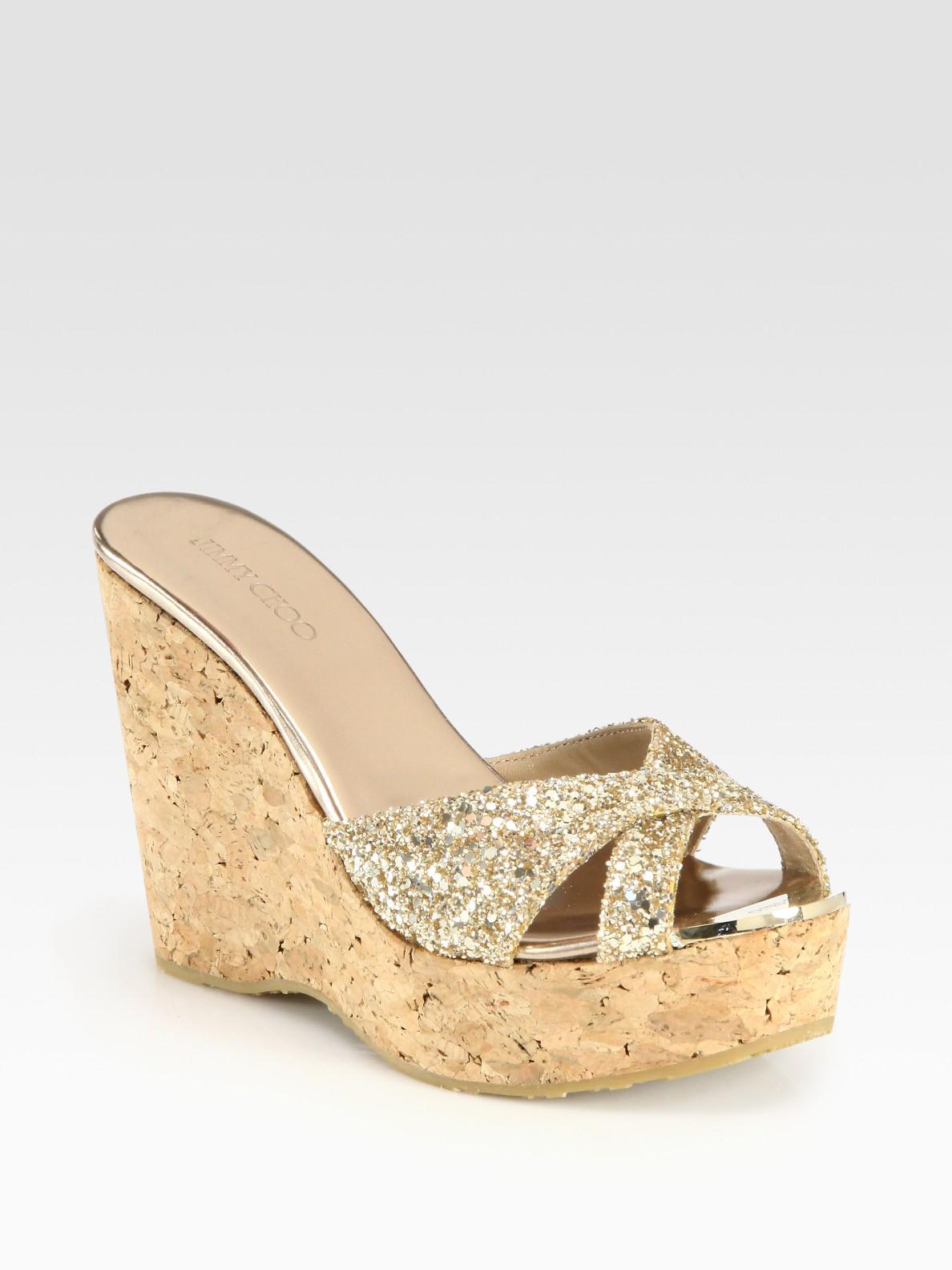 c643ecfb9db ... hot lyst jimmy choo perfume glitter cork wedge sandals in natural de4db  fb78f