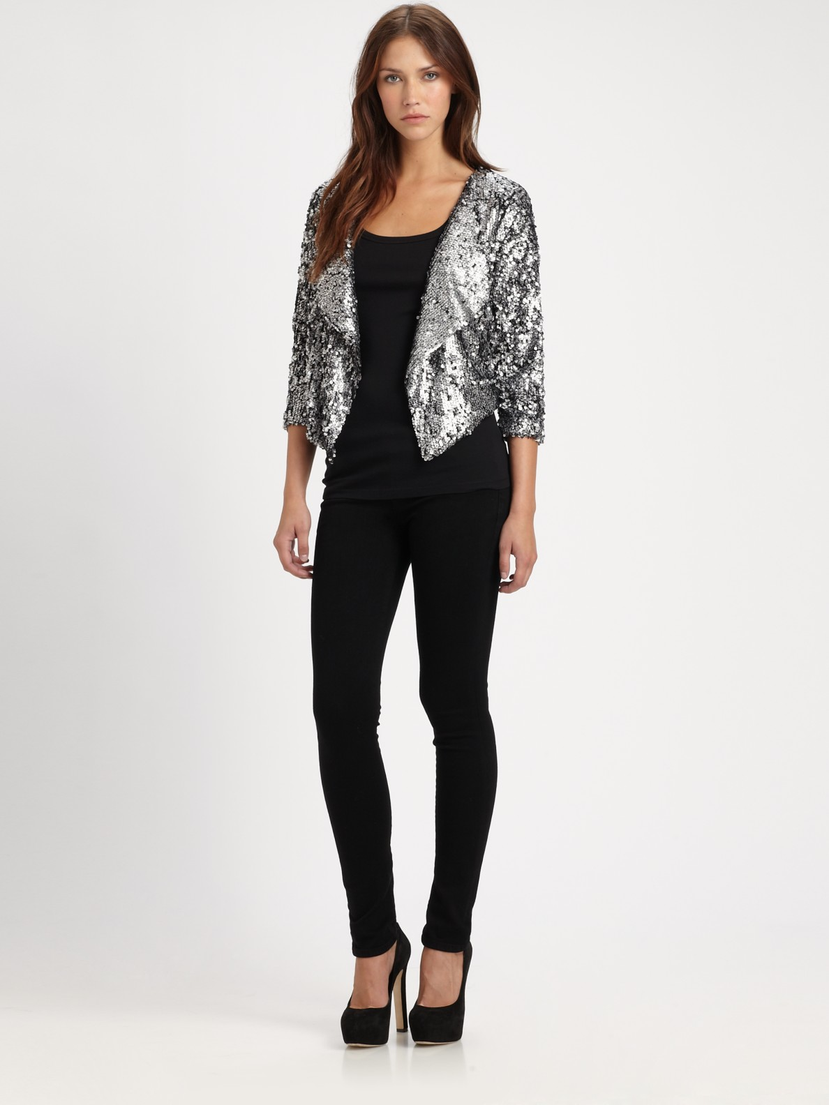 T-bags Cropped Sequin Jacket in Silver