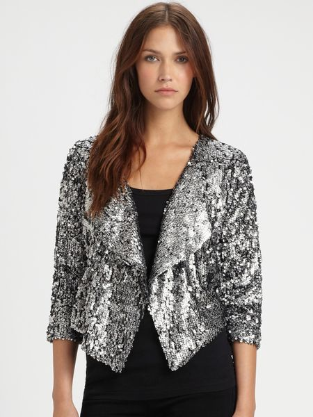 T-bags Cropped Sequin Jacket in Silver | Lyst