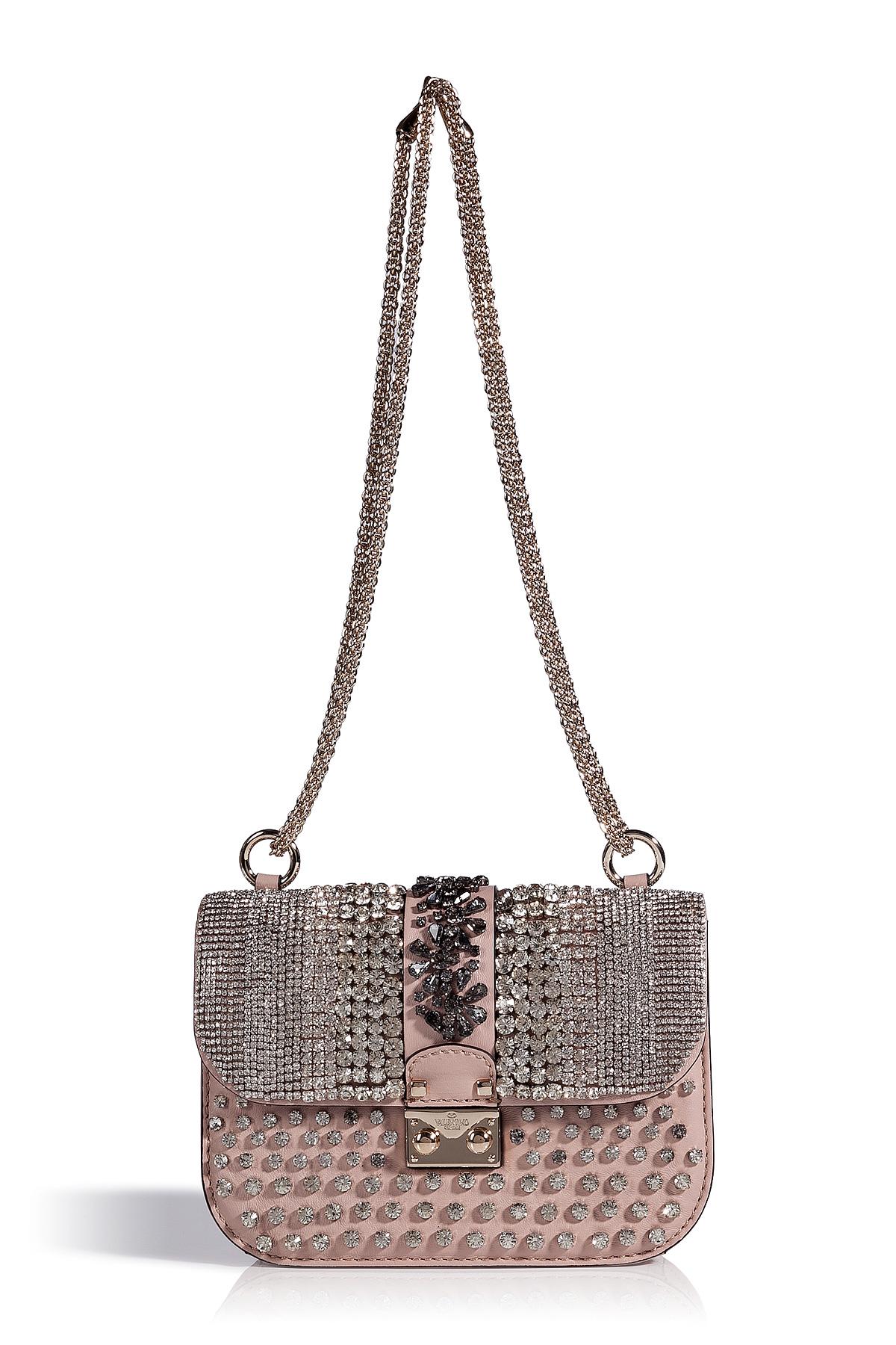 Lyst Valentino Powder Pink Leather Crystal Embellished