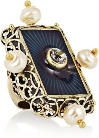 Yves Saint Laurent Secrecy Faux Pearl and Crystal Ring - Lyst