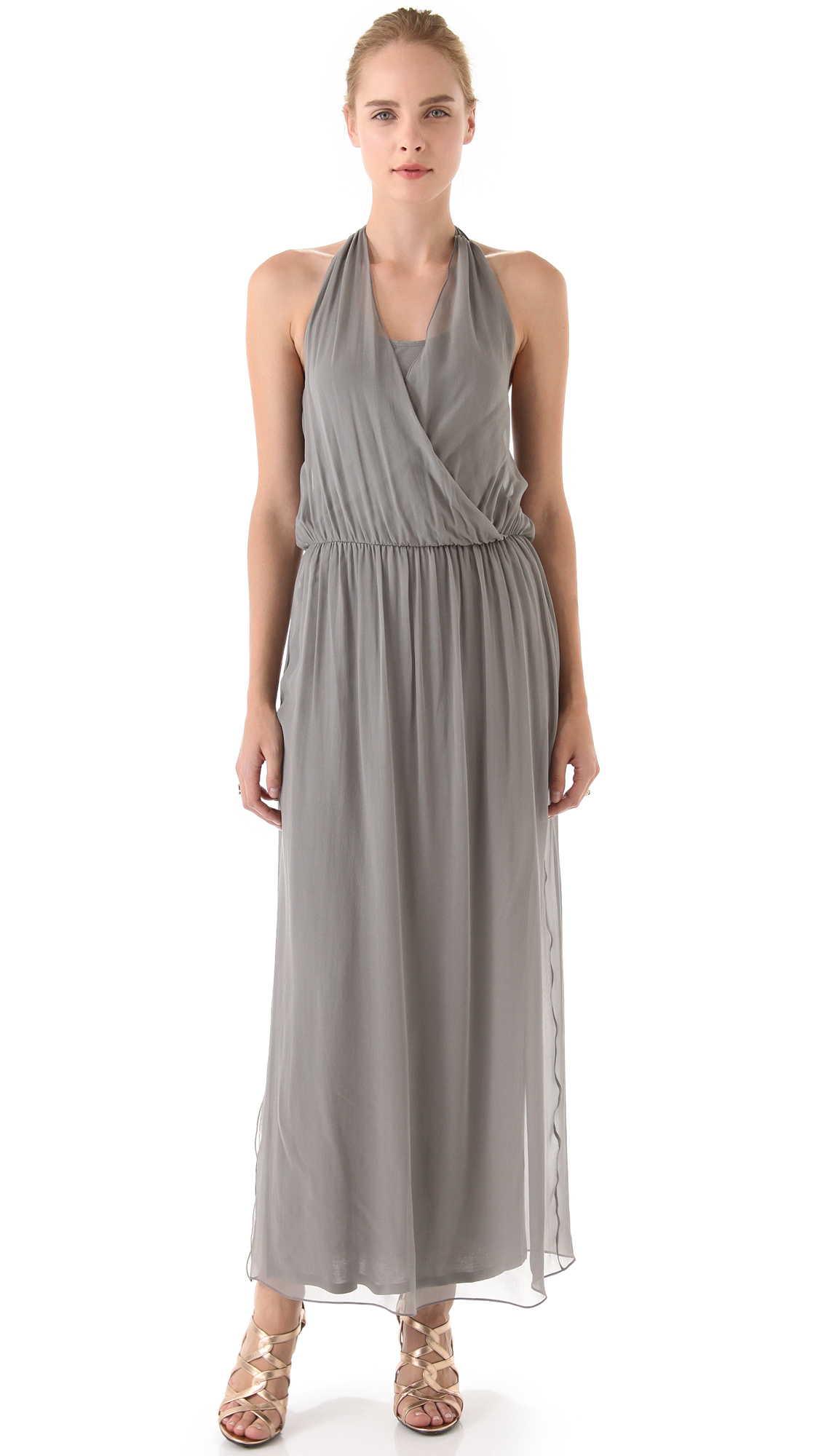 Alice olivia wrap front maxi dress in gray grey lyst