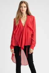 Bcbgmaxazria Silk Rufflefront Blouse in Red - Lyst