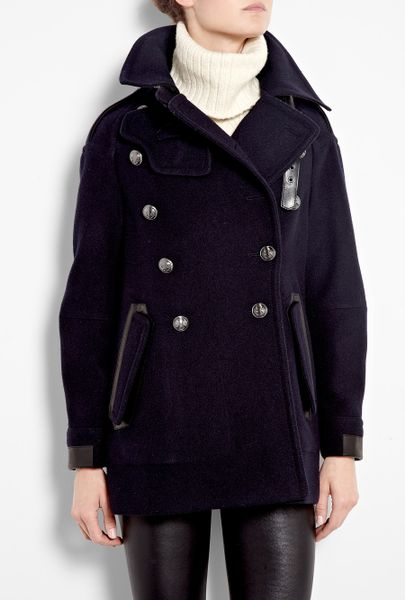 Belstaff Ink Bromley Over-sized Wool Pea Coat in Blue (ink)