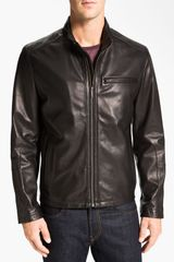 Cole Haan Lambskin Leather Motorcycle Jacket - Lyst