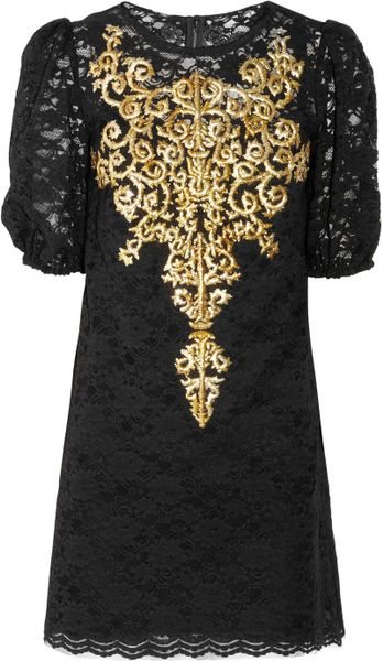 Dolce & Gabbana Embroidered Lace Dress in Black - Lyst
