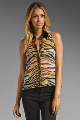 Equipment Mina Bengal Tiger Print Blouse with Contrast Collar - Lyst