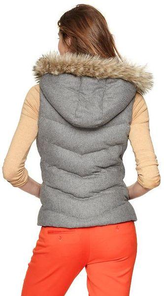 Gap Wool Furtrim Puffer Vest In Gray Lyst