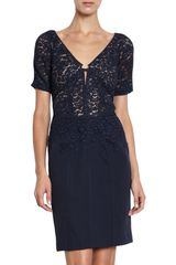 J. Mendel Guipure Lace Vneck Dress in Blue (navy) - Lyst