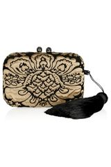 Kotur Margo Satin and Velvet Brocade Box Clutch - Lyst