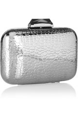Kotur Morley Crocembossed Metal Box Clutch in Silver - Lyst