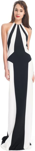 L'wren Scott Ss Crepe Marocain Gown in White (black/white) - Lyst