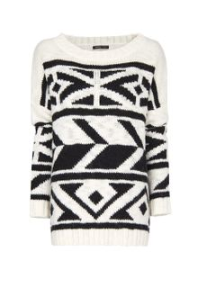 Mango Oversized Jumper Borders - Lyst
