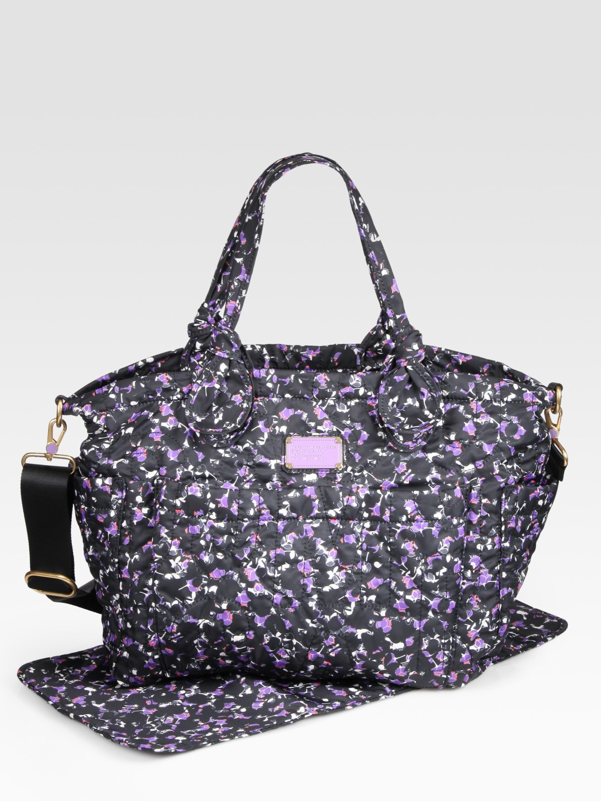 marc by marc jacobs elizababy pretty printed nylon diaper bag in black lyst. Black Bedroom Furniture Sets. Home Design Ideas