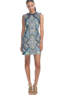 Matthew Williamson Ss Raj Leather Embroidered Structured Shift - Lyst