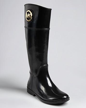 Michael kors Michael Rain Boots Fulton Tall Logo in Black | Lyst