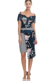 Michael Van Der Ham Ss Navy Print Strappy Dress - Lyst