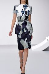 Michael Van Der Ham Ss Navy Print Dress in Blue (navy) - Lyst