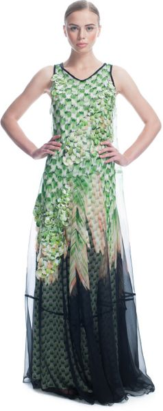 Missoni Ss Checkered Silk Long Tank Dress with Holographic Paillette Overlay in Green (green/black multi) - Lyst