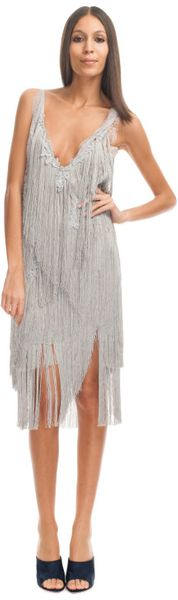 Nina Ricci Ss Fringe Dress in Gray (gris) - Lyst