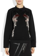 Proenza Schouler Peacockembroidered Scubajersey Sweatshirt in Black (peacock) - Lyst