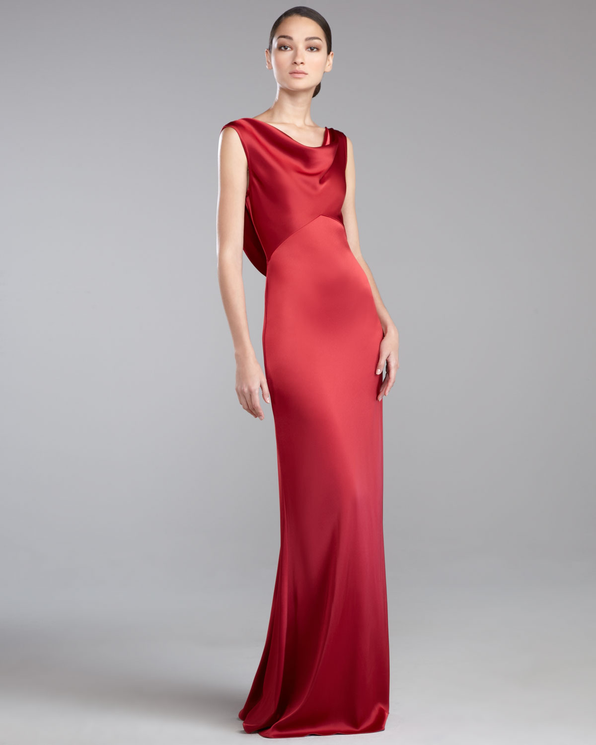Cowl Neck Satin Wedding Dresses: St. John Liquid Satin Cowlneck Gown In Red