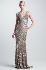 Theia Sequined Deco Gown - Lyst
