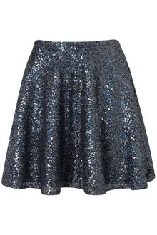 Topshop Blue Sequin Skater Full Skirt - Lyst