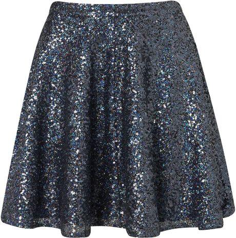 Topshop Blue Sequin Skater Full Skirt in Blue (midnight blue)