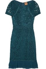 Tory Burch Bovary Silk Chiffon-trimmed Lace Dress - Lyst