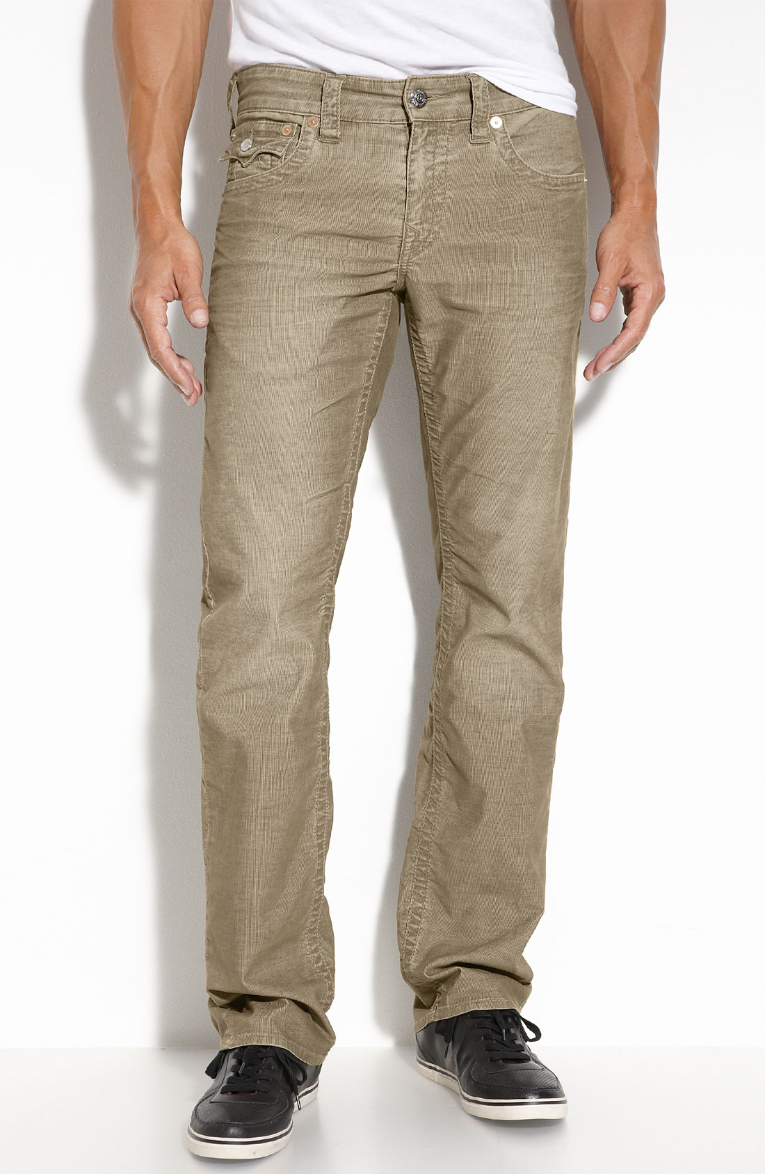 Trouser Corduroy Pants: Irresistibly soft corduroy pants with classic trouser styling and a hint of stretch for a comfortable fit. Fly front, double-button waist Side slash pockets; back besom pockets.