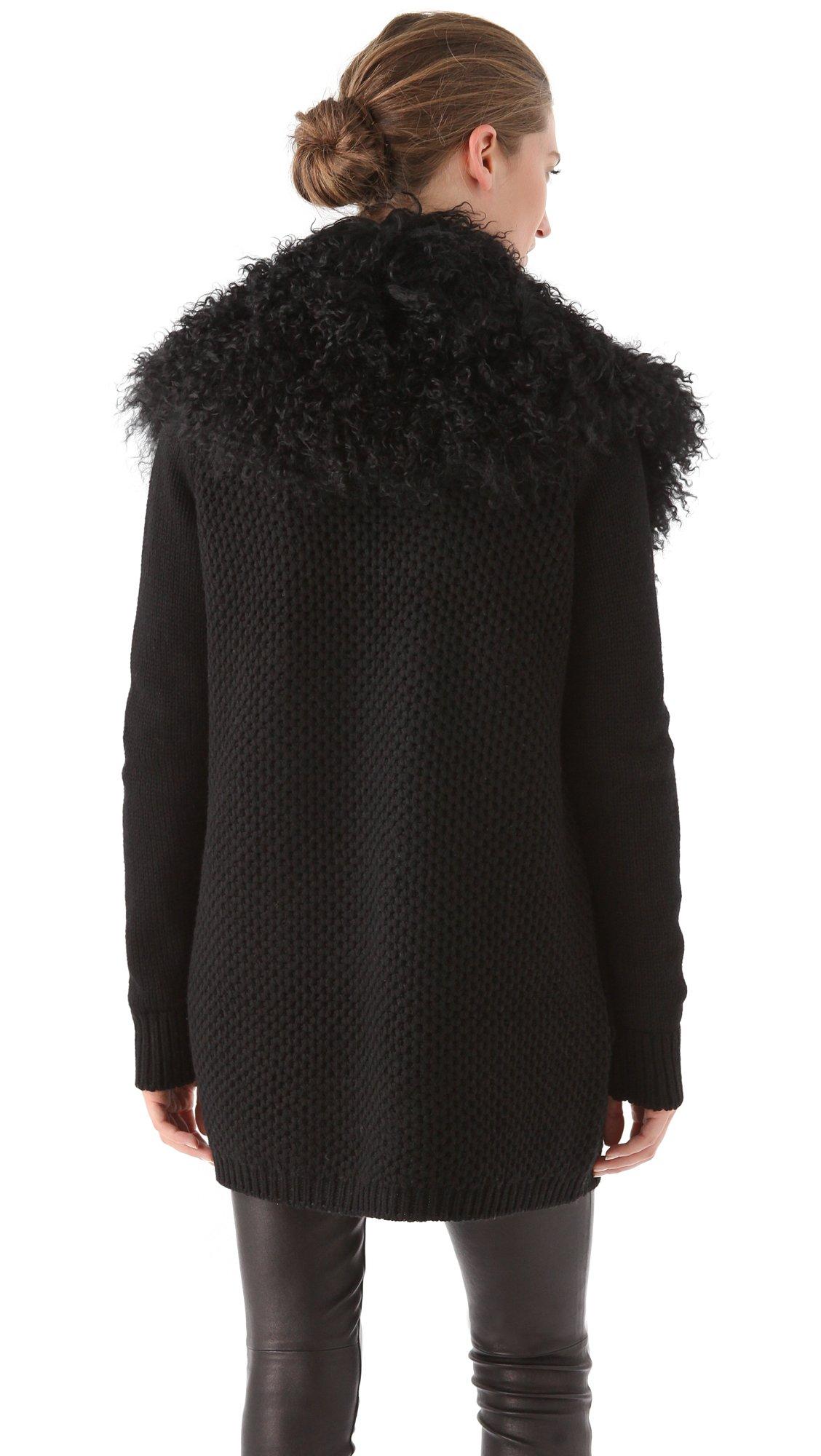 Lyst vince fur trim cardigan in black - Hussen fur stuhle ...