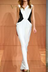 Vionnet Ss Color Block Crepe Viscose Jersey Gown in White (white orchid/black) - Lyst