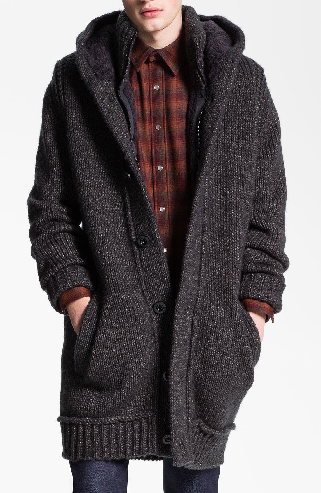 Boss orange Aarne Chunky Knit Long Hooded Sweater in Gray for Men ...