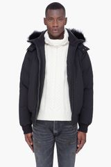 Cmfr Black Mink Fur Hood Oxton Bomber Jacket in Black for Men - Lyst