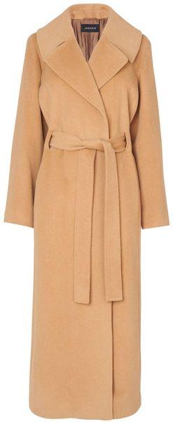 Jaeger Wool Angora Belted Wrap Coat In Beige Camel Lyst