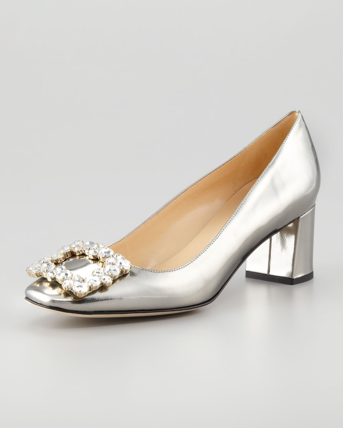 Silver Low Heel Pumps - Is Heel
