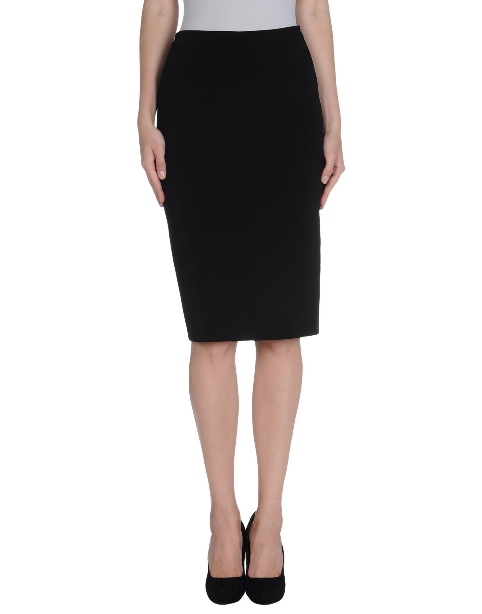 moschino knee length skirt in black save 28 lyst