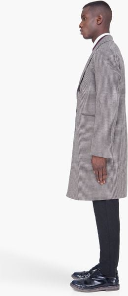 Marni Long Grey Wool Houndstooth Coat In Gray For Men