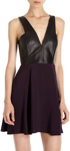 Mason by Michelle Mason Leather Bodice Dress - Lyst