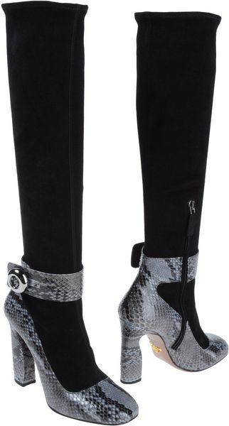 Prada High Heeled Boots in Black - Lyst