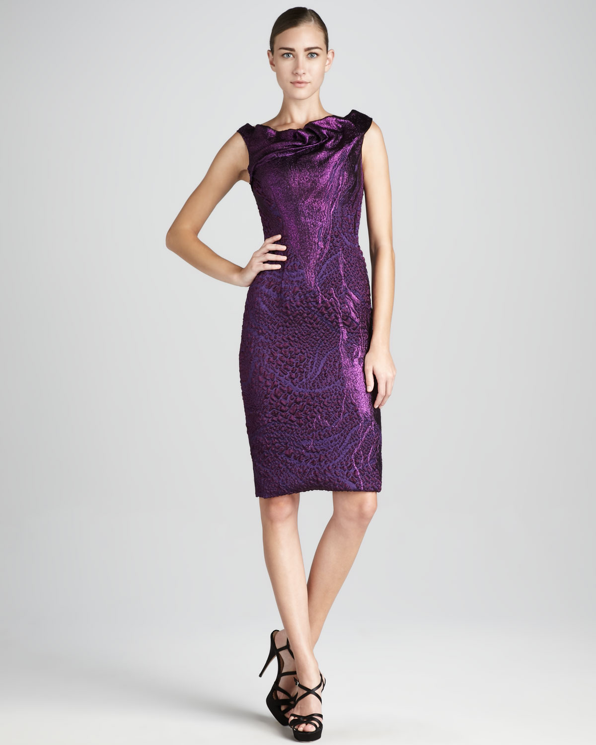 Theia Brocade Cocktail Dress in Purple  Lyst
