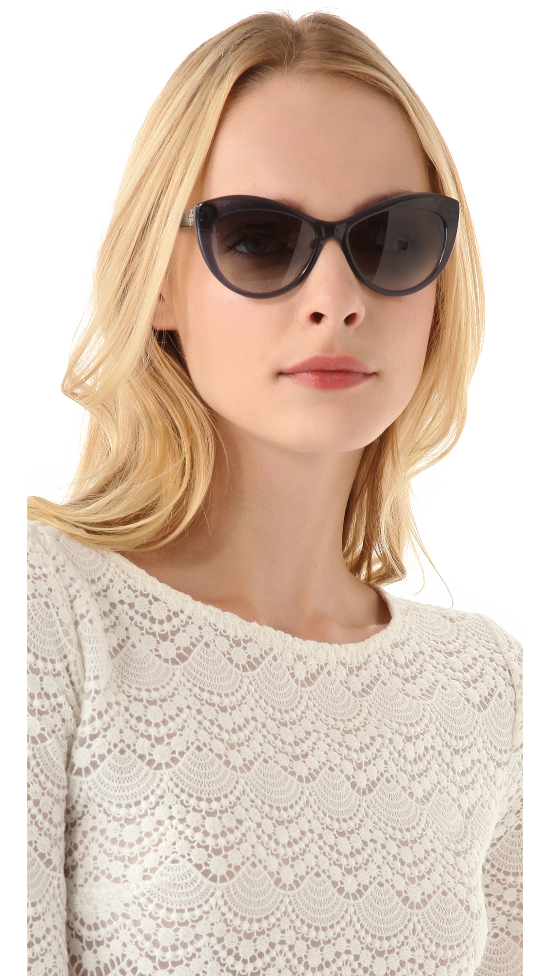 Lyst Tory Burch Oversized Cat Eye Sunglasses In Blue
