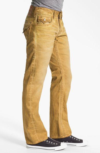 True Religion Ricky Straight Leg Jeans in Yellow for Men (mustard (dark yellow coated)) | Lyst