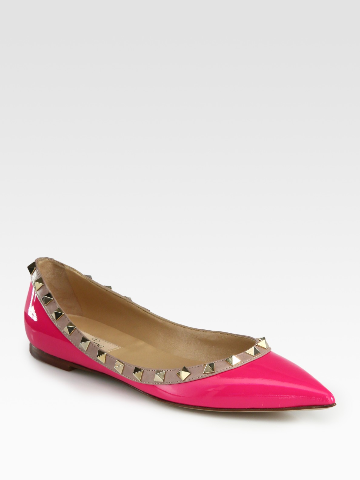 Valentino Rockstud Patent Leather Ballet Flats In Pink Lyst