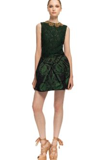 Vera Wang Ss Ethnic Damask Faille Tulip Skirt in Cypress Green - Lyst