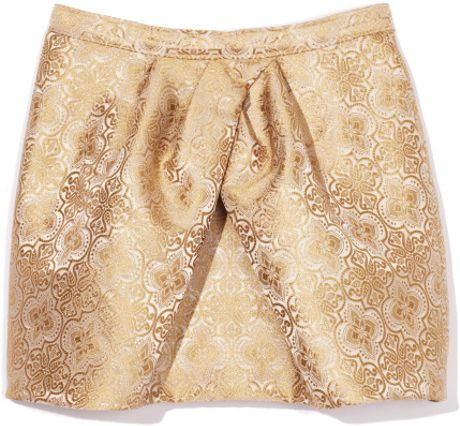 Vera Wang Ss Ethnic Brocade Tulip Skirt in Gold (off white)