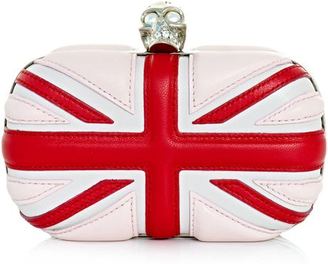 Alexander Mcqueen Tricolour Union Jack Clutch in White - Lyst