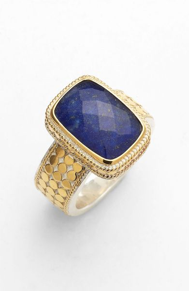 Anna Beck Gili Wire Rimmed Stone Ring In Gold Gold Lapis